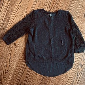 Lucky Brand Black crochet sweater